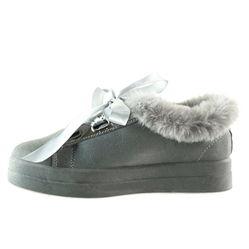 Scarpe 3 Angkorly Sneaker Piatto Lacci Da Moda Tacco Donna Pelliccia 5 Cm  Grigio In Raso HPwgrdPqx 181f5877627