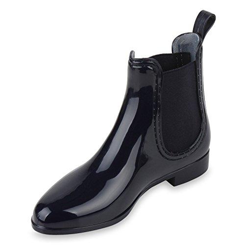 Damen Stiefeletten Chelsea Boots Lack Gummistiefel Animal Print Blockabsatz Schuhe Muster Glitzer Gummistiefeletten Flandell Dunkelblau Blau