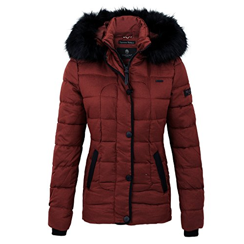 Marikoo UNIQUE Damen Winter Jacke Steppjacke Mantel mit Kapuze XS-XL 3 Farben Bordeaux FCT3gWfREb