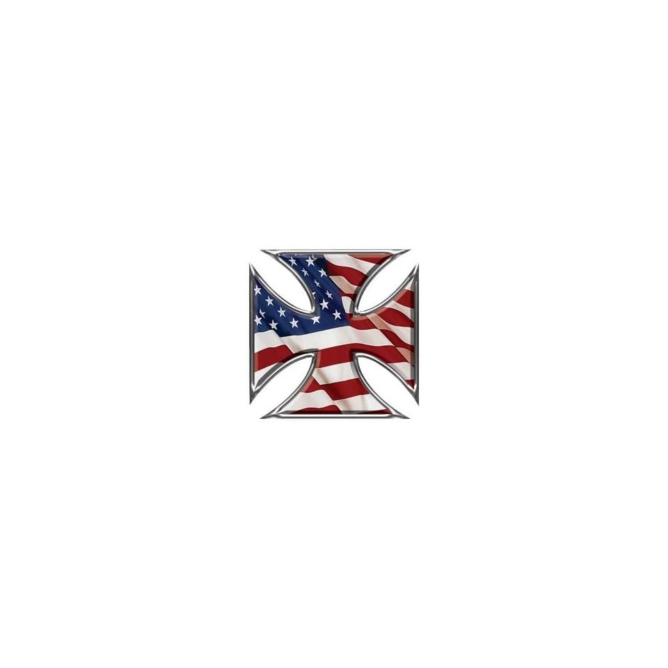 Maltese Cross Decal American Flag   16 h   REFLECTIVE