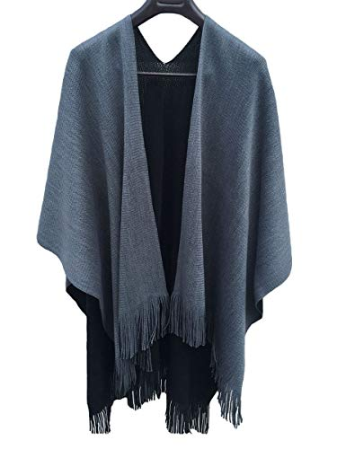 Ourlove Fashion Women's Knitted Open Poncho Cape Ladies Christmas Shawl/Blanket Long Wrap with Tassel (Black+Grey) ()