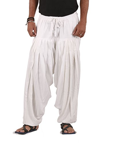 White Pleated Linen - The Harem Studio THS Mens Linen Pants Pleated Style One Size (White)