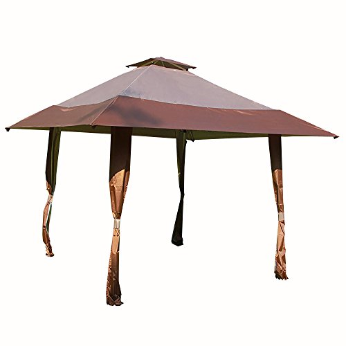 Cloud Mountain 13' x 13' Pop Up Canopy Outdoor Yard Patio Double Roof Easy Set Up Canopy Tent for Party Event, Brown Tan by Cloud Mountain