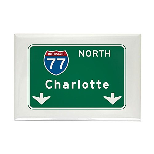 CafePress Charlotte, NC Highway Sign Rectangle Magnet, 2