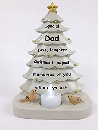 dad christmas tree with flickering tea light graveside memorial ornament tribute - Dad Christmas Ornament