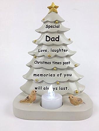 Dad Christmas Tree With Flickering Tea Light Graveside Memorial Ornament  Tribute - Dad Christmas Tree With Flickering Tea Light Graveside Memorial