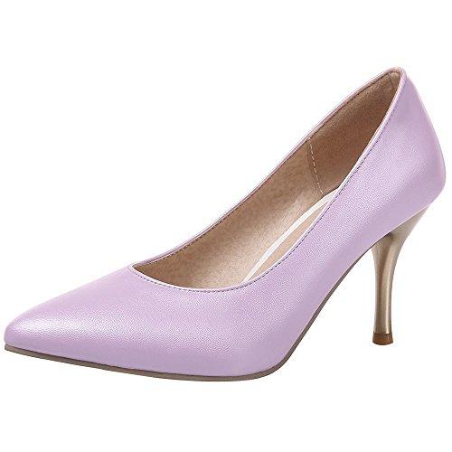 Coolcept Women Tacco Alto Scarpe A Punta Tinta Unita Slip-on Stiletto Elegante Viola Formale