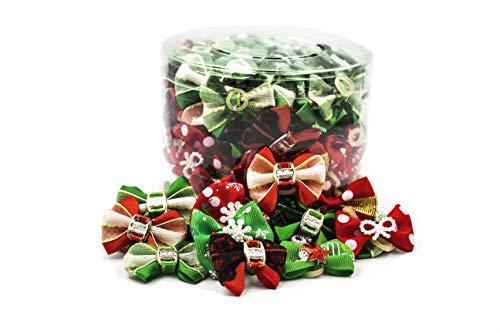 AXEL PETS Holiday Christmas Dog & Puppy Bows Canister of 100 Pieces – Grooming Snowflake Bows