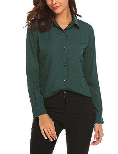 SE MIU Women Long Sleeve Casual Chiffon Button Down Blouse Shirts Top (Green, (Miu Miu Green)