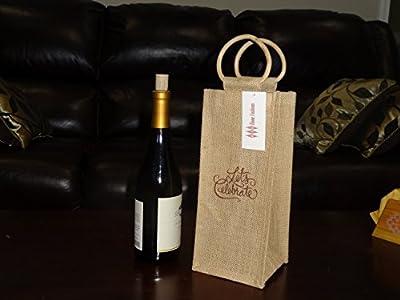 KYK Home Fashions Wine Gift Bag - Eco-friendly Reusable Single Bottle Jute Wine Bag, Natural Color