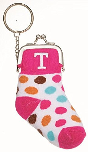 Small Knit Sock Coin Purse with Snap Closure For Kids, Adorable Present, Party Gift, Monogram Initial, Pink-
