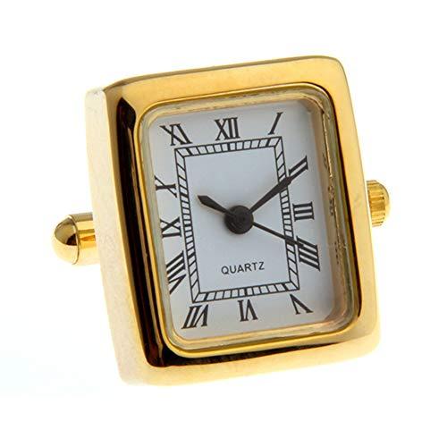 Functional Clock Quartz Watch Working Cufflinks (Gold Rectangle)