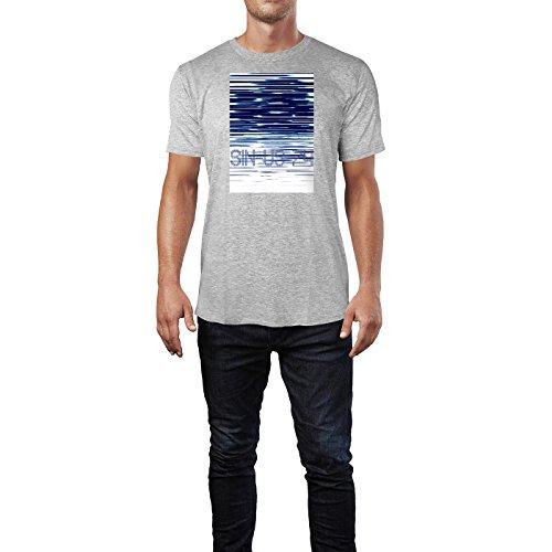 SINUS ART ® Abstrakte blaue Streifen Herren T-Shirts in hellgrau Fun Shirt mit tollen Aufdruck