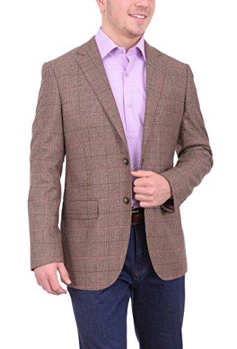 The Suit Depot Mens NAPOLI Brown Glen Plaid Half Canvassed Wool Cashmere Blend Blazer Sportcoat