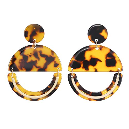 - FAMARINE Tortoise Shell Drop Earrings, Geometric Gold Acrylic Round Hoop Earring for Girls Women