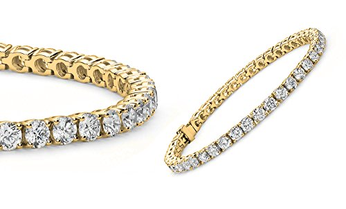 Women Gold Plated Round 3mm Cubic Zirconia Tennis Bracelet - Gold Four Prong Diamond Bracelet