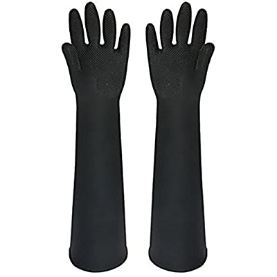 Katoot@ Powder Free Chemical Resistant Rubber Gloves Large Rolled Beaded Cuff,Acid Oil Resistant Working Hands 23.62 inch, Black 1 Pairs/Pack