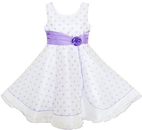Sunny Fashion HX44 Girls Dress Polka Dot Flower Tulle Pageant Unique Design Purple Size 9-10
