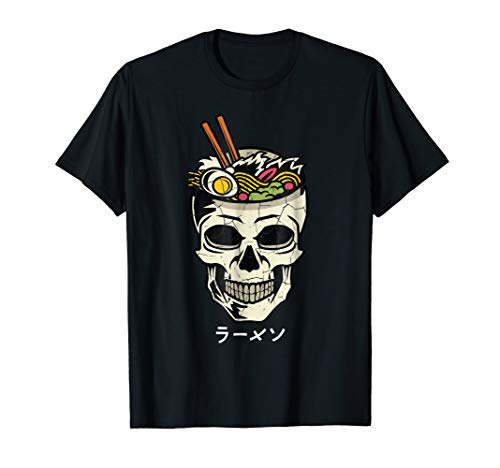 (Vintage Japanese Ramen Noodles T-Shirt Skull Brain Graphic)