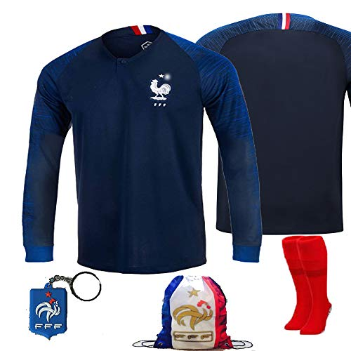 France Soccer Team Pogba Griezmann Mbappe Kid Youth Replica Jersey Kit : Shirt, Short, Socks, Bag, Key, Please Check Size Chart (No Name Long Sleeve Kit, Size 28 (11-12 Yrs Old Approx.)) ()