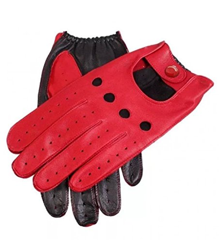 (Two Tone Leather Driving Gloves (X-Large, Red/Black))