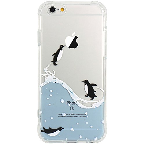 JAHOLAN iPhone 6 Case, iPhone 6S Case Amusing Whimsical Design Clear Bumper TPU Soft Case Rubber Silicone Skin Cover for iPhone 6 6S - Flying Penguin