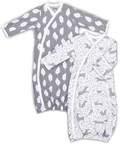 2 Pk 100% Organic Cotton Kimono Gown for Boy or Girl, with Easy Change Snaps and Built in Mitts, Gray/White Feathers and Woodland Animals (0-3 Months) (Kimono Baby Bundler)