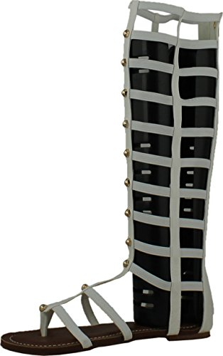 Womens Studded Gladiator Design (Wild Rose Odelia04 Womens Leatherette Open Toe Studded Knee High Gladiator Sandals,White,10)