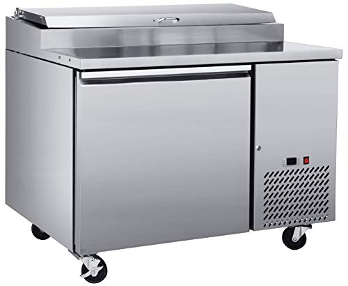 Chef's Exclusive CE372 One 1 Single Door Commercial Pizza Prep Table Stainless Steel Cooler Refrigerator 10.9 Cubic Feet (6) 1/3 Size Pans Environmentally Friendly R290 Refrigerant, 47