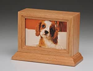 Pet Urn Oak Wood Photo Frame Pet Urn with Glass Frame Dog Cat Small Animal Cremation Urn