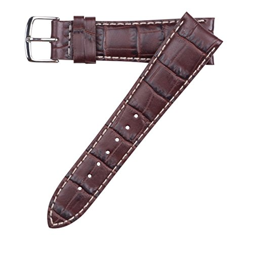 Hadley-Roma Men's MSM834RB-200 20-mm Brown Genuine Italian Calfskin Leather Watch Strap