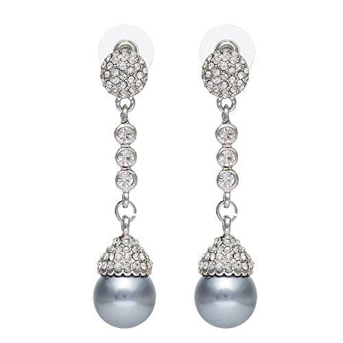 QSKS Women Rhinestone and Shell Pearl Jewelry Long Dangle Stud Earrings,1 Pair(Grey)