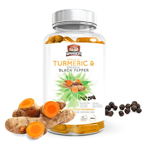 Organic Turmeric Curcumin Capsules with Black Pepper for Enhanced Absorption 120 Veg. Capsules by Unchained Warrior® UK | High Strength | Joint Pain and Arthritis Relief | Soil Association Certified