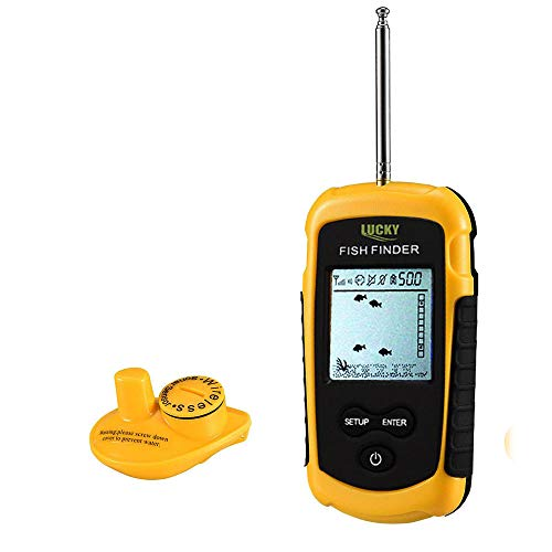 Cheap LUCKY Wireless Fish Finder, Portable Handheld Fishfinder Sonar Sensor Transducer Anti-UV LCD Display Depth Finders for Kayak, Boat, Float Tube, Canoes