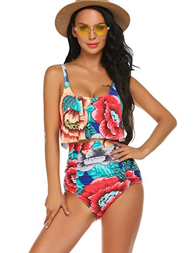 ADOME Women's Printed Bikini Set Ruffled Swmsuits Highwaist Tummy Control Swimwear (Red, M) (Waist Swimwear High)