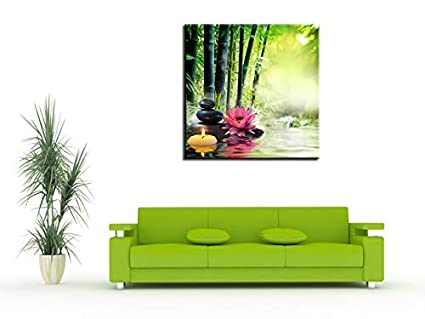 Tableau Decoration Murale Salon Toile imprim/ée Tableau Deco/Tableau Zen Bougie et Galet sur for/êt de Bambou 30x30 cm Multicouleur Declina