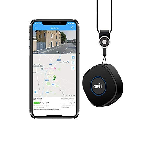 GPS Tracker, Qbit Portable GPS Tracker Mini Locator with Real-Time GPS Tracking Geo-fence and SOS Alarms Two-way Talks…