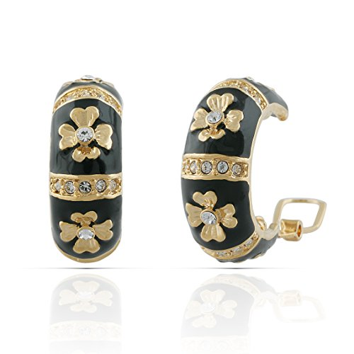 (JanKuo Jewelry Gold Plated Black Enamel with Crystals Clover Flower French Clip Earrings)