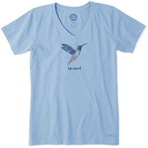 Life is Good Women's Hummingbird Crusher V-Neck T-Shirt, Powder Blue, XL