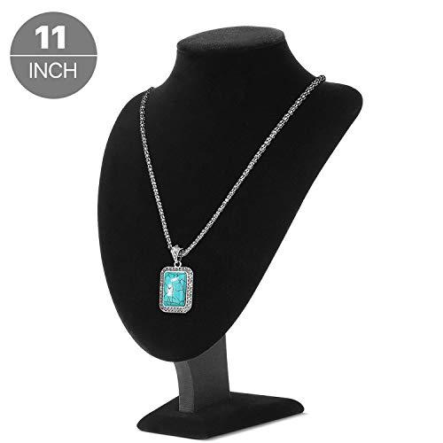 Flexzion Velvet 3D Necklace Jewelry Display Bust Stand - 3-Dimensional Freestanding Pendant Chain Chokers Lockets Holder Storage Organizer Figure, 11 inch (Black)