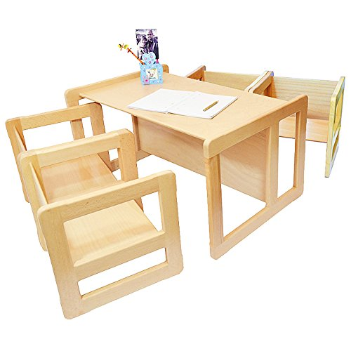 3 in 1 Childrens Multifunctional Furniture Set of 5, Four Small Chairs or Tables and One Large Bench or Table Beech Wood, Natural by Obique Ltd