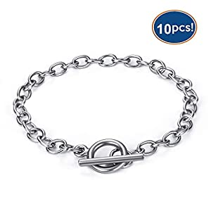 LANBEIDE 10Pcs Chain Bracelets Stainless Steel Bracelet Link Chains with Toggle Clasp Bracelet Jewelry Making for Women Girls Birthday Christmas Gift