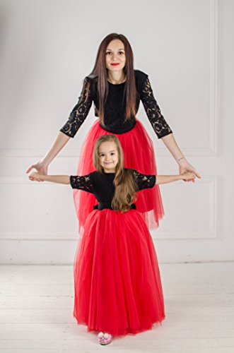 Red and black matching dress dresses outfits Mother daughter Mommy and Me lace tutu dresses Black lace dresses Mother and Me birthday dress by MatchingLook
