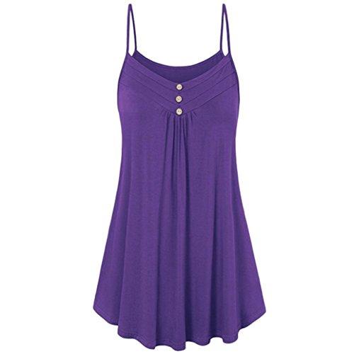 LISTHA Womens Ladies Summer Vest Blouse Loose Button V Neck Camisole Tank (Empire Waist Maternity Shirt)