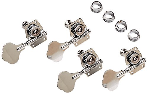 YMC Chrome-Tuning-Peg-Bass-4Cloverleaf 4 PIeces R Vintage Open Bass Tuners Machine Heads Knobs Chrome Bass Key