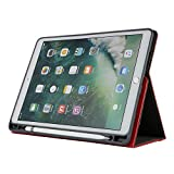 12.9 Inch New iPad 2018 Case,Sammid Pu Leather Full Body Protective Cover with Card Slot Tri-fold Stand Business Cover with Pen Holder Easy Viewing Hand Strap Case for 2018 iPad Pro 12.9 - Red