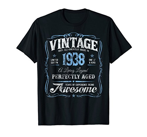 80th Birthday T-Shirt Made In 1938 Vintage 80 Years Old Gift by T-Shirts by Irregulariteez