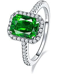 3.6ct 8x6mm Created Green Emerald 925 Sterling Silver Wedding Band Anniversary Engagement Ring