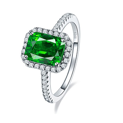 BONLAVIE Emerald-Cut Created Emerald and Cubic Zirconia Halo Cocktail Sterling Silver Ring for her Size 8