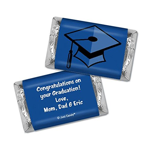 Graduation Personalized Hershey's Miniatures Candy Bar Wrappers Cap & Tassel (100 Wrappers) - Blue (Graduation Bars Candy Personalized)